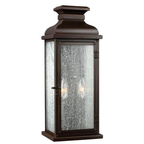 Feiss FE/PEDIMENT/M Pediment 2Lt Dark Aged Copper Outdoor Wall Lantern
