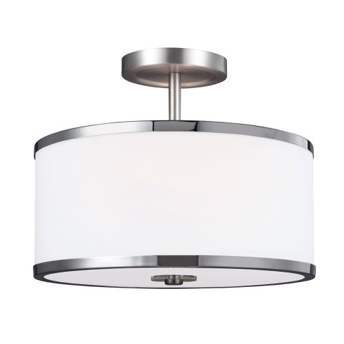 Feiss FE/PROSPECTPK/SF Prospect Park 2Lt Satin Nickel Semi Flush Ceiling Light