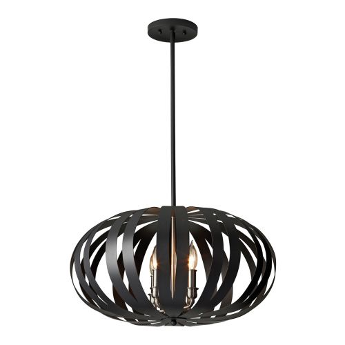 Feiss Woodstock Textured Black Oval Cage Pendant Fitting FE/WOODSTOCK/P/M