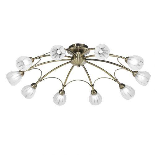 Franklite FL2207/10 Chloris 10Lt Bronze Ceiling Light Frosted Glass