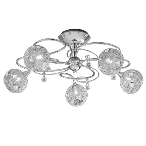 Franklite Orion 5 Light Chrome Semi-Flush With Crystal Discs FL2214/5