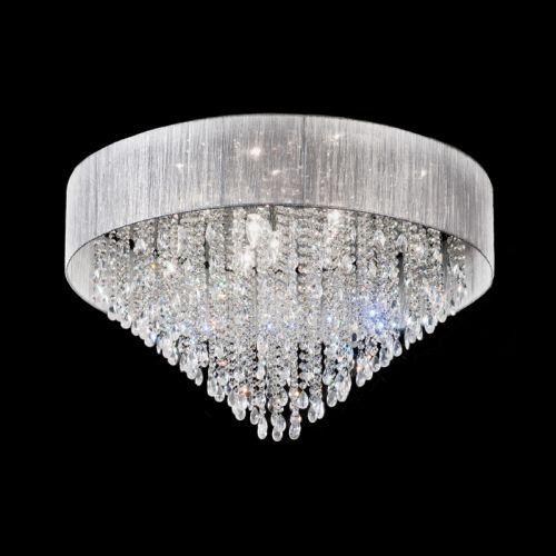Franklite Royale Polished Chrome Flush Ceiling Fitting With Crystals FL2281/10