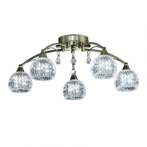 Franklite FL2296/5 Jura 5Lt Bronze, Glass Bowls, Drops Ceiling Light