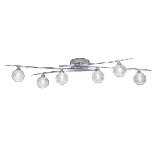 Franklite Shardice Polished Chrome 6 Light Ceiling Flush Bar Glass Spheres Strands FL2297/6