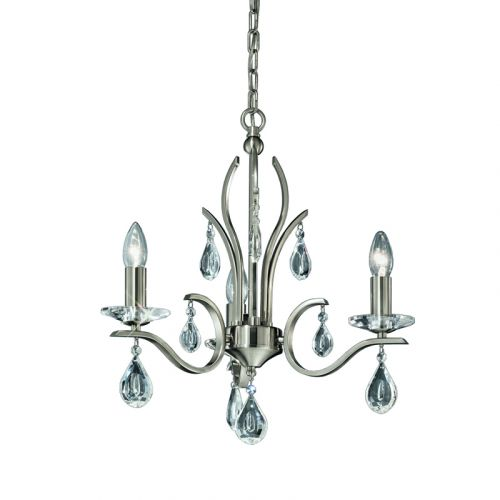 Franklite Willow 3 Light Nickel Multi-Arm Ceiling Fitting With Crystal Drops FL2298/3