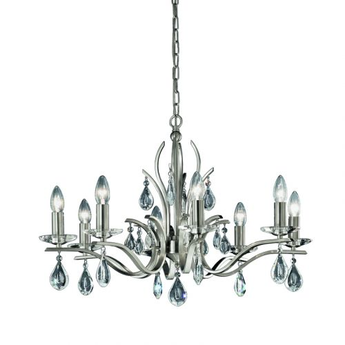 Franklite Willow 8 Light Nickel Multi-Arm Ceiling Fitting Crystal Drops FL2298/8