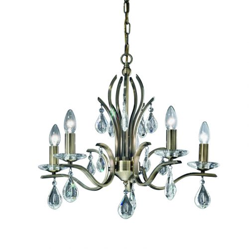 Franklite Willow 5 Light Bronze Multi-Arm Ceiling Fitting Crystal Drops FL2299/5
