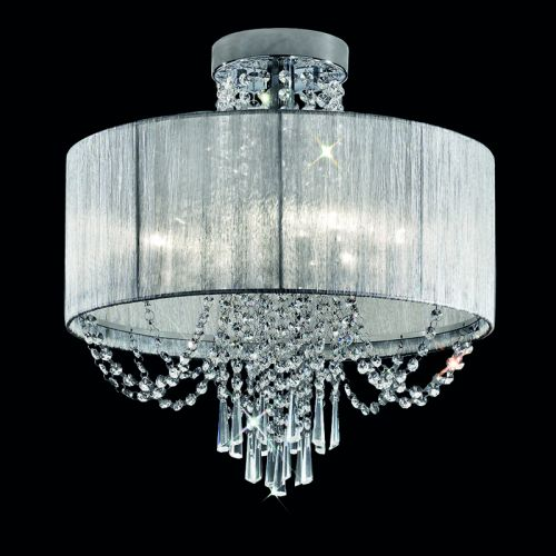 Franklite Empress 6 Light Semi-Flush With Crystal And Shade FL2303/6 Polished Chrome