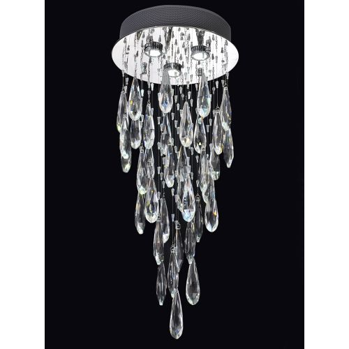 Franklite FL2320/3 Shimmer 3Lt LED Chrome Finish Crystal Drop Pendant