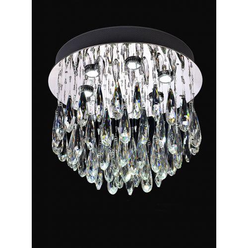 Franklite FL2321/6 Shimmer 6Lt LED Chrome Crystal Drop Flush Pendant