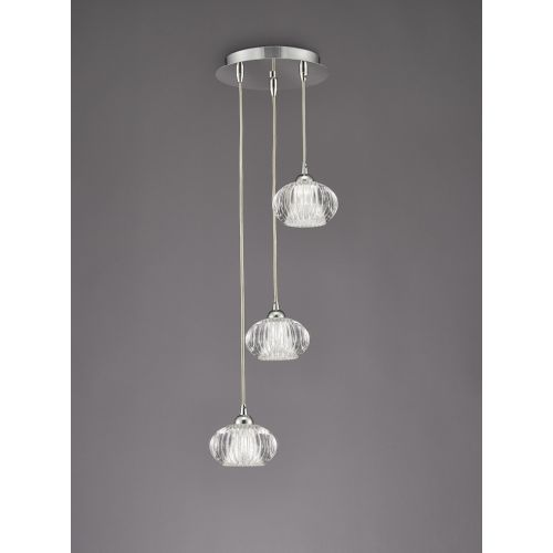 Franklite Tizzy 3 Light Chrome Spiral Pendant FL2343/3