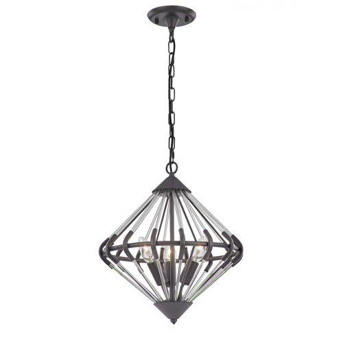 Franklite FL2363/3 Follie 3Lt Ironwork Glass Pendant