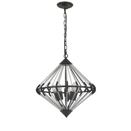 Franklite FL2363/5 Follie 5Lt Ironwork Glass Pendant