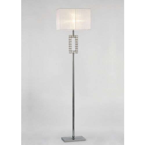 Diyas IL31537 Florence Renctangle Floor Lamp White Shade 1 Light Polished Chrome Crystal