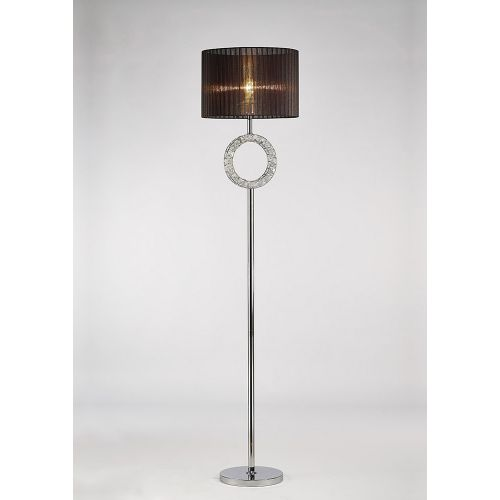 Diyas IL31725 Florence Round Floor Lamp Black Shade 1 Light Polished Chrome Crystal