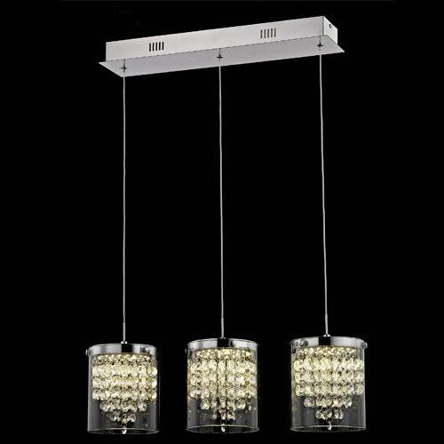 Impex LED608242/03/CH Florina 3Lt LED Chrome Ceiling Bar Pendant
