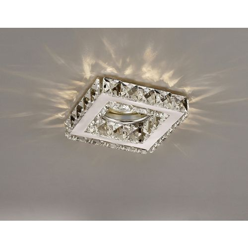 Diyas IL30837CH Galaxy GU10 Square Recessed Downlight Polished Chrome Crystal