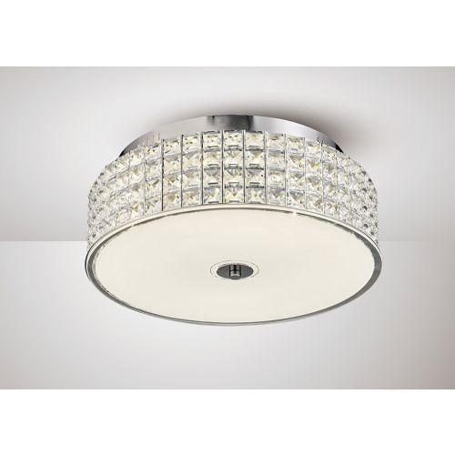 Diyas IL80021 Hawthorne Round Flush Ceiling Light 30W 1700lm LED 4000K Polished Chrome Crystal