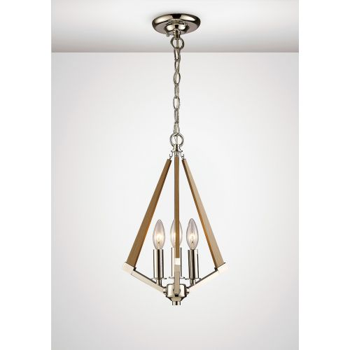Diyas IL31681 Hilton Tetragonal Pendant 3 Light E14 Polished Nickel Taupe Wood