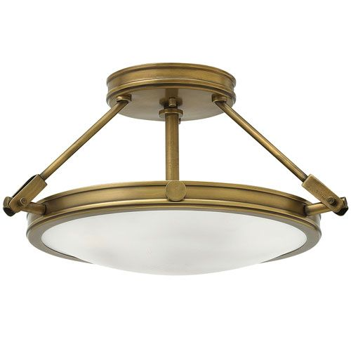 Hinkley Collier 3 Light Heritage Brass Semi-Flush HK/COLLIER/SF/S