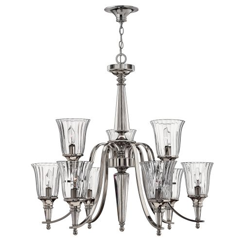Hinkley HK/CHANDON 9 Arm Two Tier Polished Sterling Chandelier