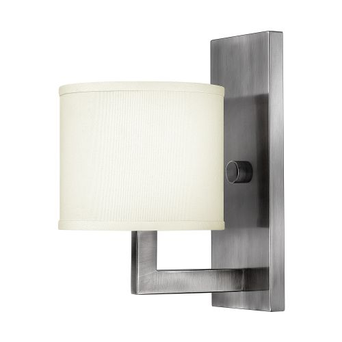 Hinkley HK/HAMPTON1 1lt Antique Nickel Wall Light Cream Shade