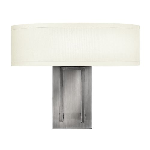 Hinkley Hampton 2lt Wall Light Cream Shade HK/HAMPTON2 Antique Nickel