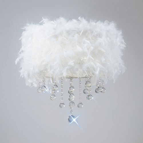 Diyas Ibis White Feathered Flush Fitting IL30741-WH