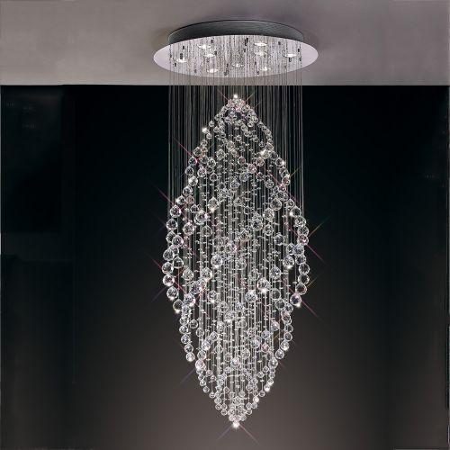 Diyas IL30784 Colorado Crystal 9 Light Oval Pendant Polished Chrome Frame