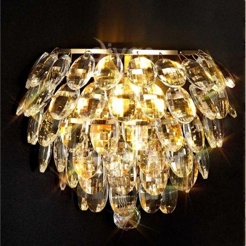 Diyas Coniston IL32807 Crystal Single Wall Light Gold Frame