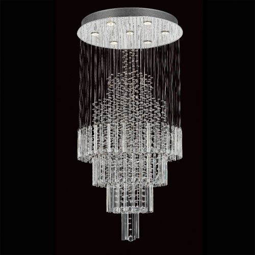 Impex CF110281/07/CH Barcelona Crystal 7 Light Stairwell Pendant Chrome Frame