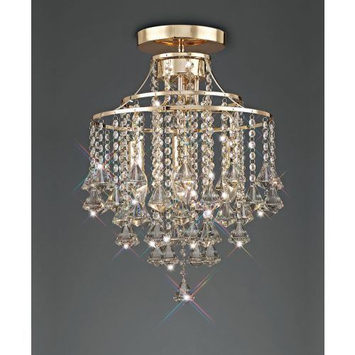 Diyas IL32770 Inina Crystal 4 Light Semi Flush Ceiling Fitting French Gold Frame