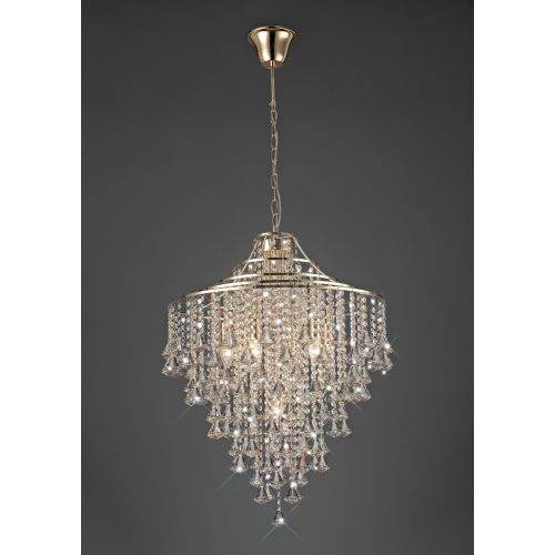 Diyas IL32772 Inina Crystal 7 Light Pendant French Gold Frame