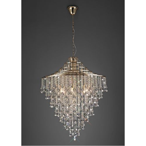 Diyas IL32773 Inina Crystal 9 Light Pendant French Gold Frame