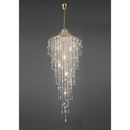 Diyas IL32775 Inina Tall Crystal 9 Light Pendant French Gold Frame