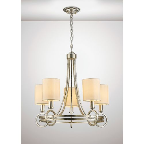 Diyas IL31702 Isabella Pendant Beige Shade 5 Light E14 Antique Silver Teak Plated