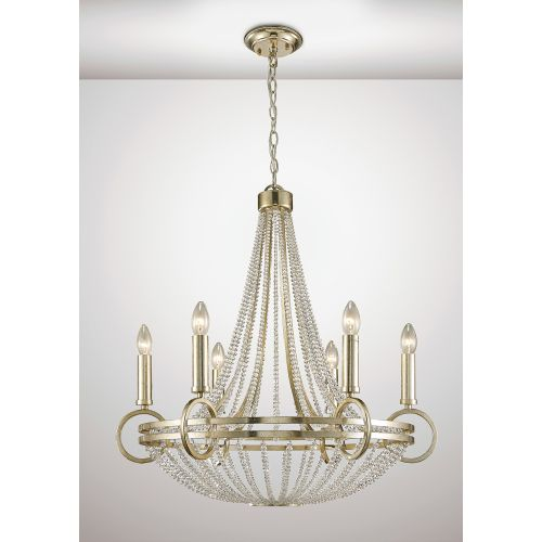 Diyas IL31703 Isabella Pendant Beige Shade 6 Light E14 Antique Silver Teak Plated Crystal