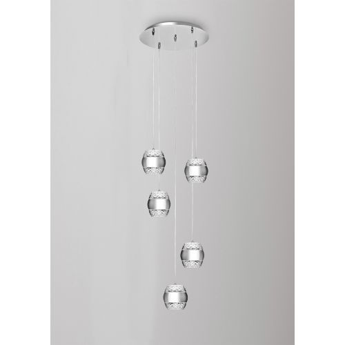 Mantra M5169 Khalifa Pendant 5 X 6W LED 3000K Line Polished Chrome Glass 5400lm