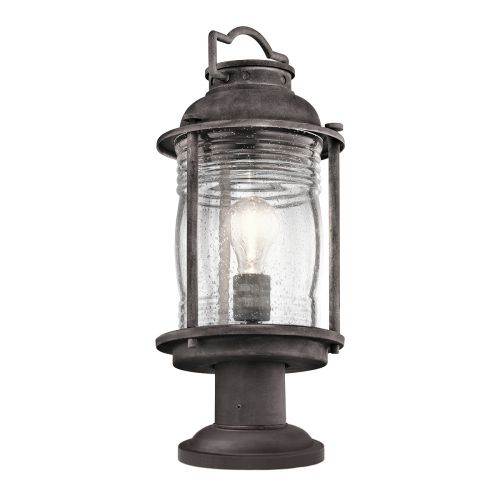 Kichler Ashlandbay Medium Indoor/Outdoor Pedestal Lantern Weathered Zinc ELS/KL/ASHLANDBAY3/M