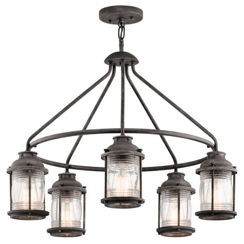 Kichler KL/ASHLANDBAY/5P Ashland Bay 5Lt Weathered Zinc Indoor/Outdoor Ceiling Pendant