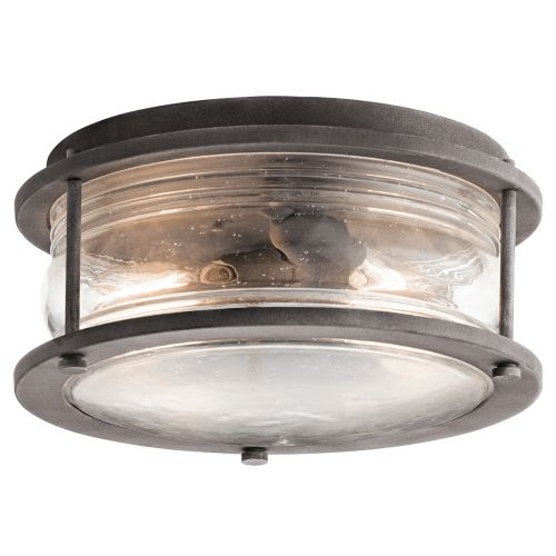 Kichler Ashlandbay 2lt Indoor/Outdoor Ceiling Flush Weathered Zinc ELS/KL/ASHLANDBAY/F