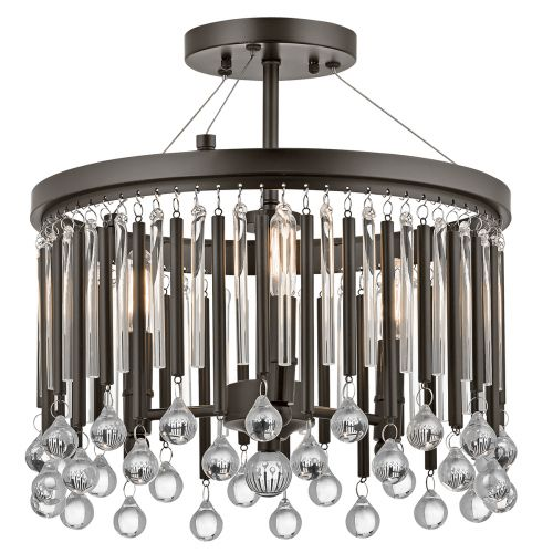 Kichler KL/PIPER/SF Piper 3Lt Espresso Semi-Flush Ceiling Light