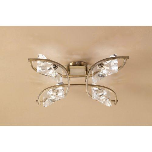 Mantra M0883AB Kromo 4 Light Semi-Flush Ceiling Fitting G9 Antique Brass