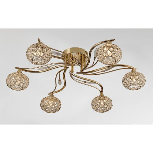 Diyas IL30966 Leimo Semi-Flush Ceiling Fitting 6 Light French Gold Crystal