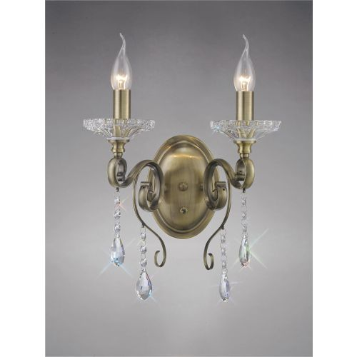 Diyas IL32072 Libra Wall Lamp Switched 2 Light Antique Brass Crystal