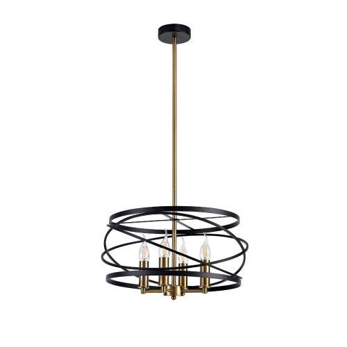 Lekki Luby Pendant Light Fitting 4 x E14 Black Satin Gold LEK3155