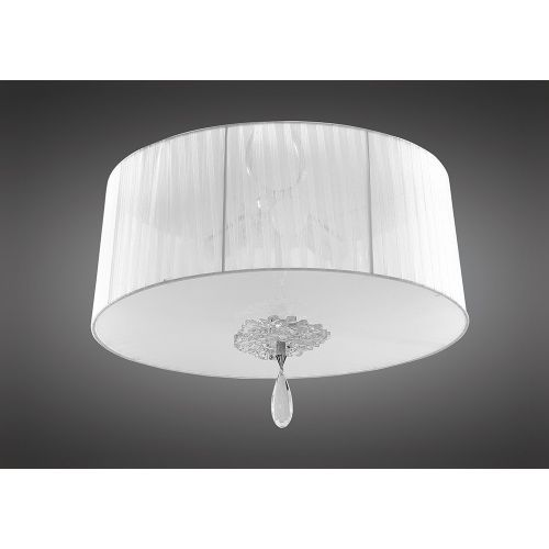 Mantra M5275 Louise 3 Light E27 White Shade Polished Chrome Clear Crystal Flush