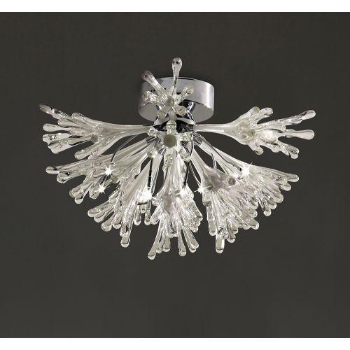 Diyas IL50433 Love Semi-Flush Ceiling Fitting Small 9 Light Polished Chrome White Glass