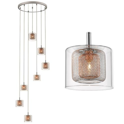 KES LUE07PENDCOP Luella 7 Light Cluster Pendant Spiral Copper Polished Chrome Frame