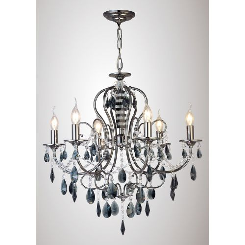 Diyas IL30906 Luna Pendant 6 Light Black Chrome Crystal
